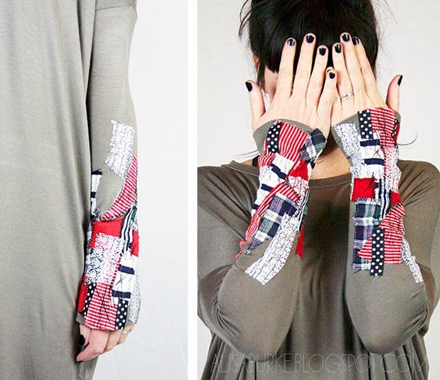 easy embellished sleeves with fabric scraps
