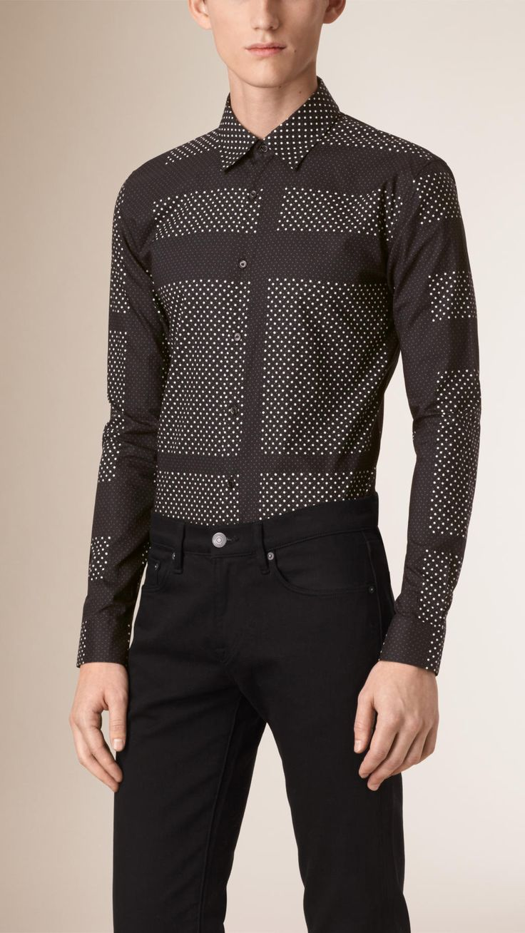 A slim-fit shirt in a distinctive polka-dot check pattern. The design is tailored with a point collar and single button cuffs.
