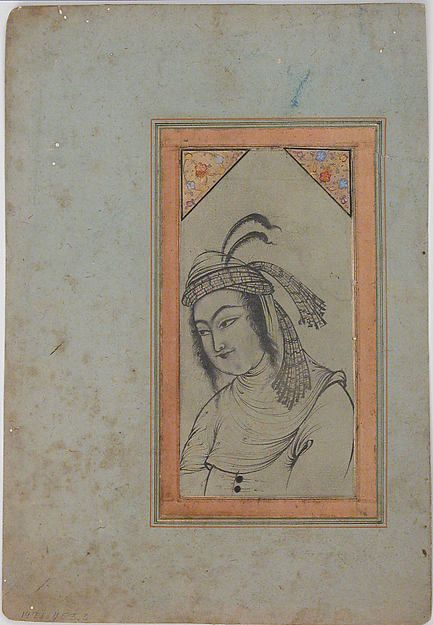 Bust-Length Portrait of a Woman Object Name:Illustrated single work Date:late 17th–early 18th century Geography:Attributed to Iran, Isfahan Medium:Ink, pencil, and gold on paper Dimensions:9.81 in. high