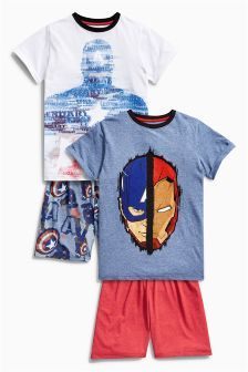 Multi Captain America Short Pyjamas Two Pack (3-12mths)