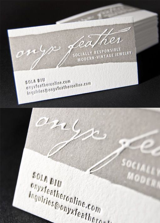 Earthy Textured Embossed Letterpress Business Card Design