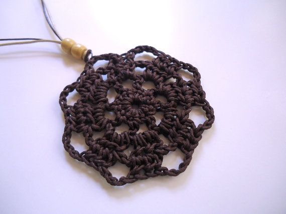 Crochet necklacelong beaded necklace brown pendand by AlkistiKnits on Etsy