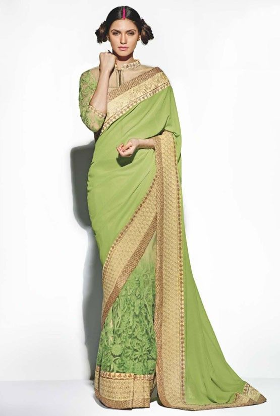 Appealing Apple Green Saree - Designer Sarees - Sarees - Women