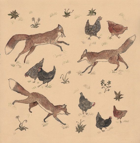 Hens and Foxes  12 x 12 Print by swanbones on Etsy, $32.00