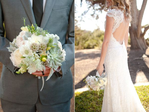 La Jolla Beach Wedding - great bouquet and choice of flowers!