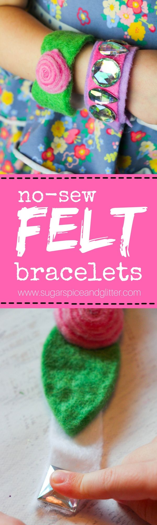 Kid-made Felt Bracelets, an easy no-sew homemade jewelry craft for kids #craft #kidscraft