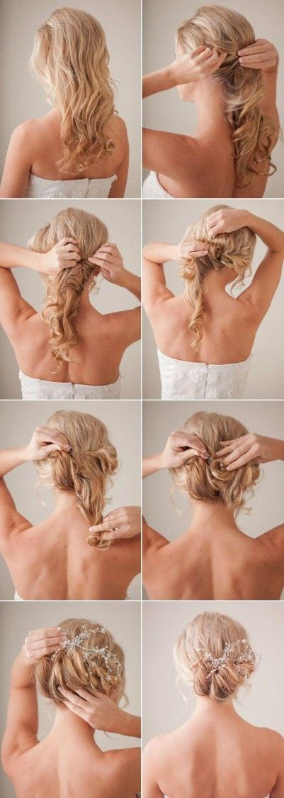 Hair Tutorial for a low messy bun. looks cute with accessories!