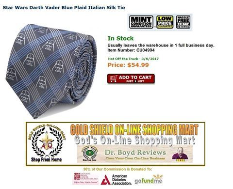 OVER 36,000 HITS.  We donate 30% of our commission to The National Breast Cancer Foundation. Inc., American Diabetes Association, and GoFundMe.com.  Star Wars Darth Vader Blue Plaid Italian Silk Tie In Stock  Price: $54.99  http://www.entertainmentearth.com/prodinfo.asp?number=CU04994&id=GO-412128922