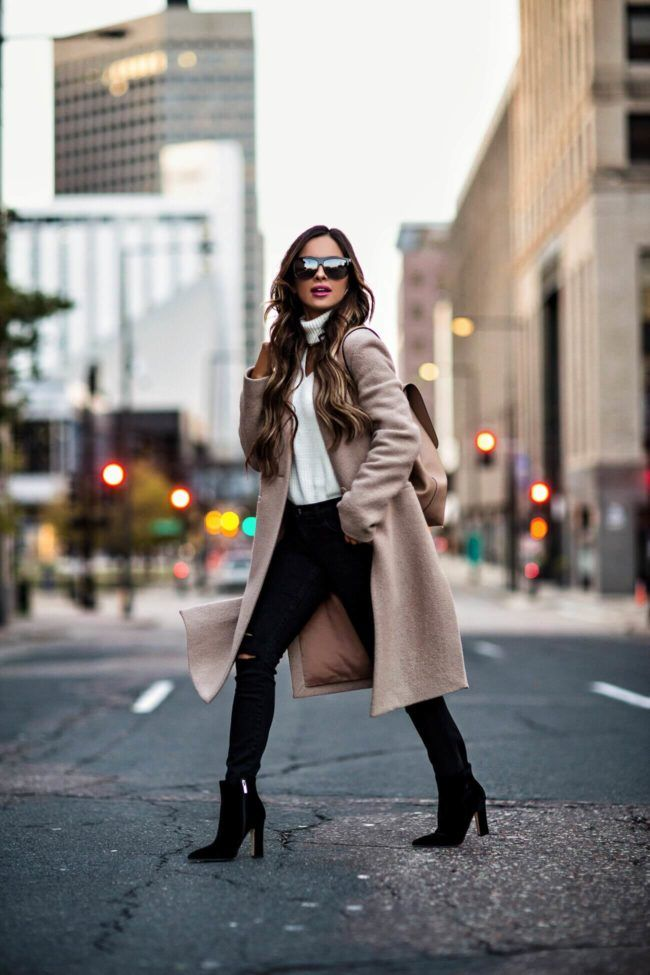 OCTOBER 29TH, 2017 BY MARIA Fall Pieces To Wear For Work & The Weekend - OUTFIT DETAILS: Camel Coat AQUA Cutout Sweater J Brand Black Jeans Camel Backpack Marc Fisher Velvet Booties Saint Laurent Sunglasses