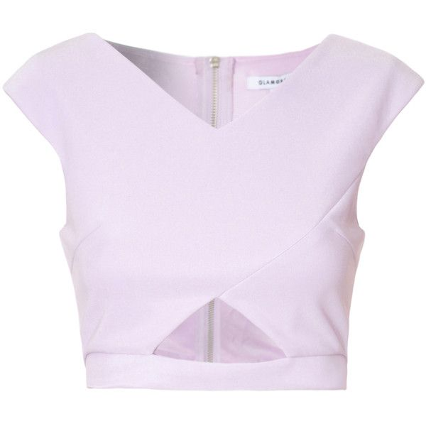 Lilac Cut Out Crop Top (115 BRL) ❤ liked on Polyvore featuring tops, crop top, purple, cutout top, cap sleeve top, cut-out tops and lilac top