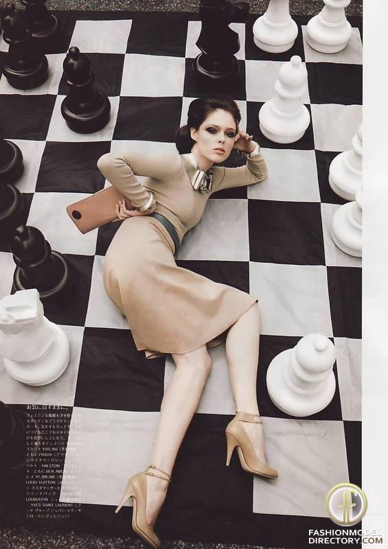 Coco Rocha on a giant chess board.