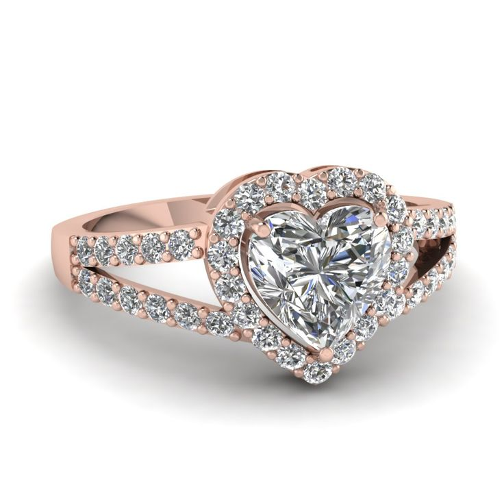 Heart Shaped diamond Split Shank Engagement Ring with White Diamond in 14K Rose Gold || Heart Halo Micro Pave Ring ||