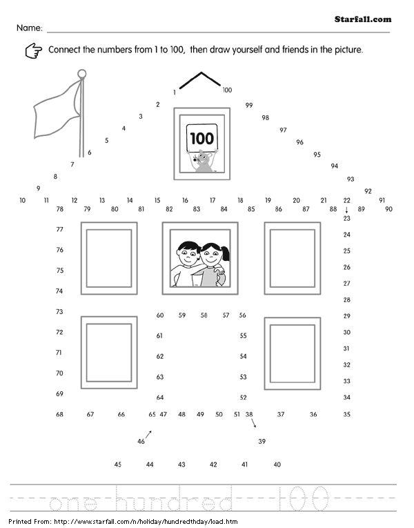Online Printouts: 100th Day of School Dot to Dot