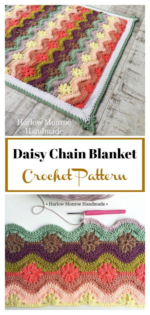 Daisy Chain Blanket Crochet Pattern   Crochet   Pinterest   Crochet ...