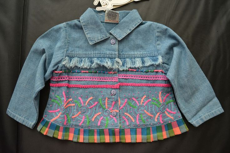Designer embroidered denim shirt for girls 12 months from Beetlejuice London