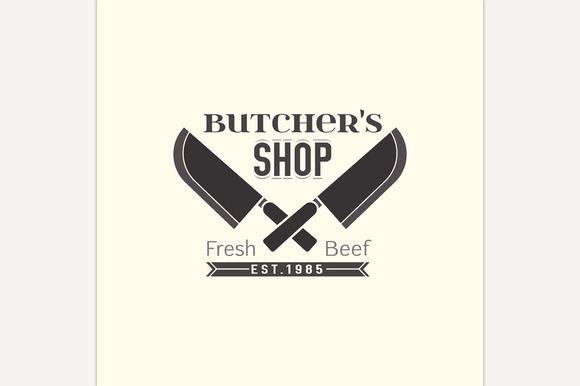Butcher Shop Logo by Double Brain on @creativemarket