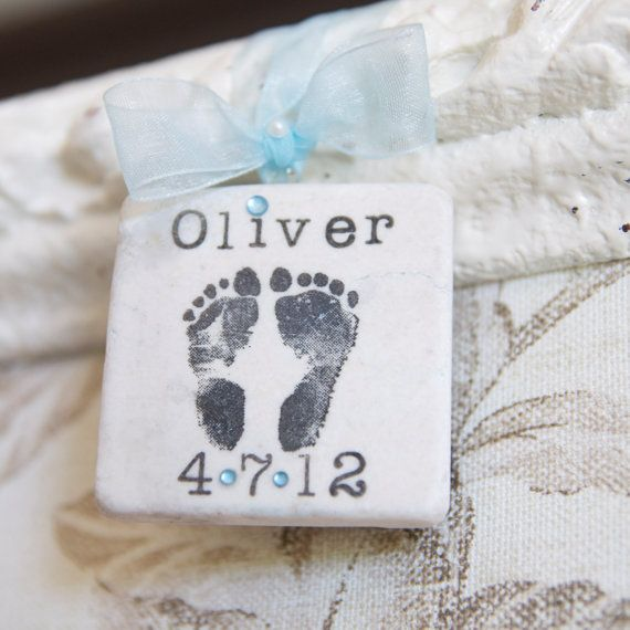3 Baby Ornaments with Hand or Foot Prints on Etsy, $30.00