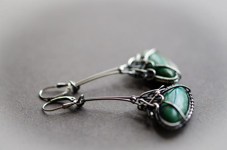 turquos silver earring wire wrapped silver earring