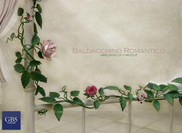 Le rose rampicanti, uno dei tratti distintivi del design di GBS, caratterizzano i letti romantici, con o senza baldacchino. Ferro battuto. Made in Italy