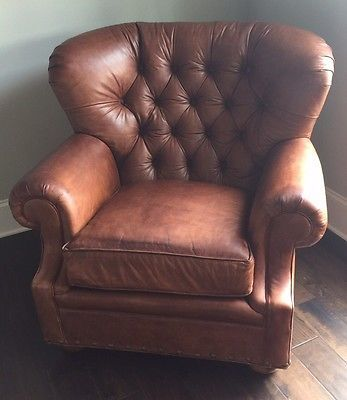saddle brown distressed tufted leather club chair single chair ebay