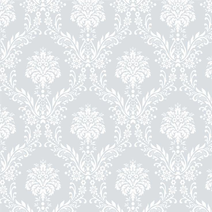 Tecido Adesivo Estampa Damasco Branco Fundo Azul Rafael - Tamanho 95 cm x 300 cm Envio em 10 dias úteis
