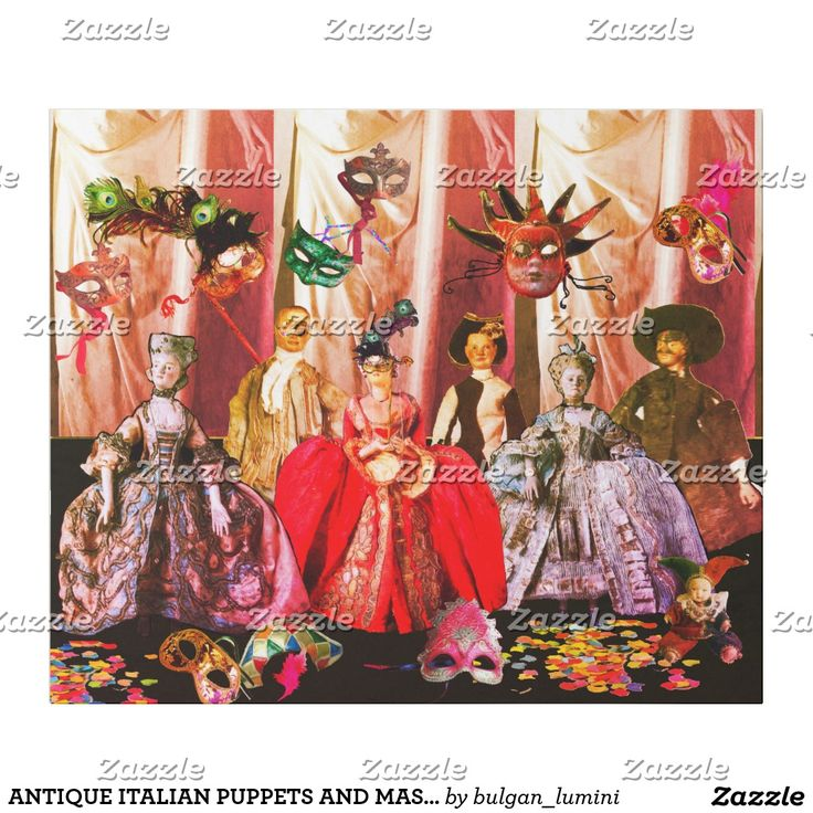 ANTIQUE ITALIAN PUPPETS AND MASKS MASQUERADE PARTY WRAPPING PAPER  #theater #puppetshow #carnival #mardigras #venice #doll