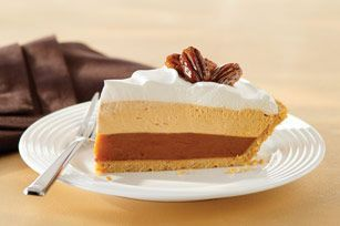 The perfect Thanksgiving dessert recipe for Triple layer Pumpkin Spice Pie.