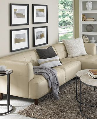 Alessia Leather Sectional Living Room Furniture Collection