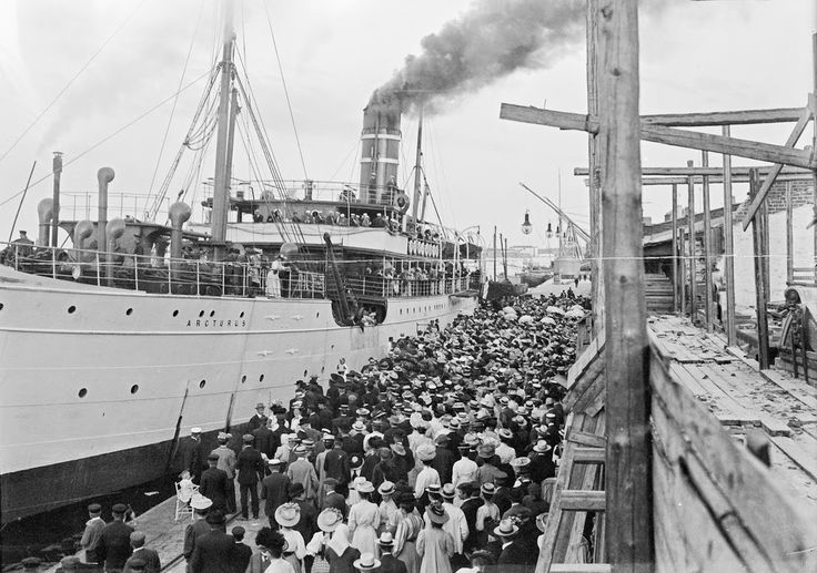 """Street Scenes of Helsinki, Finland, ca. 1900s, Steam ship """"Arcturus"""" departure from the South Harbor in Helsinki"""