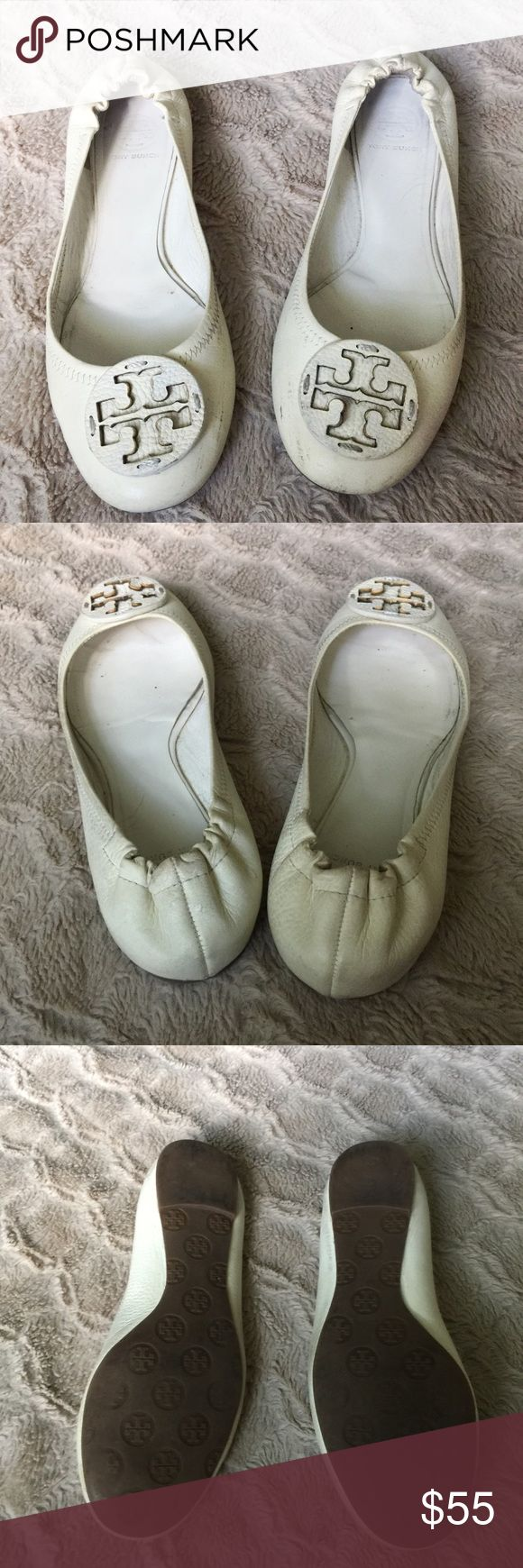 Tory Burch Cream Reva Flats Tory Burch Reva ballet flats in a lovely shade of cream. Size 10 and fit true to size. There are some cuffs that can be improved. Structurally in great shape and will look lovely with a little leather cleaner. Tory Burch Shoes Flats & Loafers