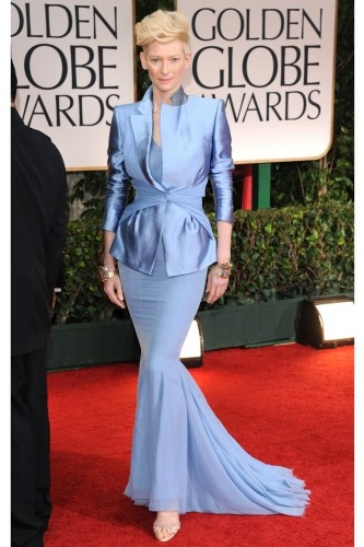 Tilda Swinton hit the Golden Globes red carpet in this periwinkle Haider Ackermann ensemble.