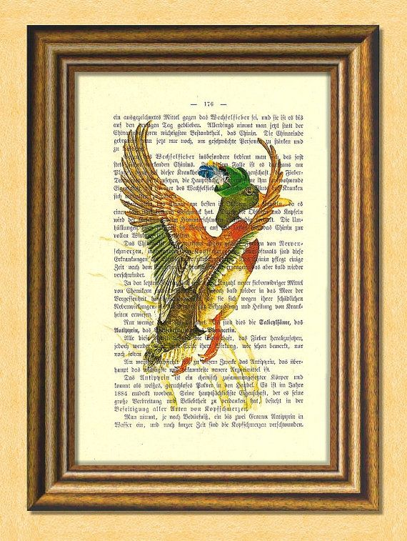 FLYING DUCK  Dictionary art Vintage book by littlevintagechest, $7.99