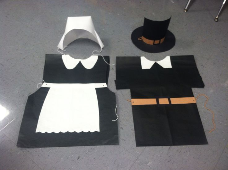 Thanksgiving.  Pilgrim costumes made with paper. Pre-kinder