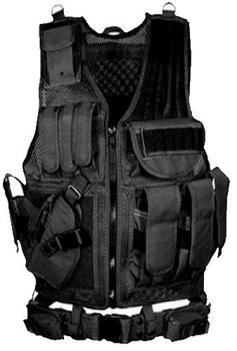 Ultimate Arms Gear Stealth Black Tactical Scenario Military Hunting Assault Vest w Lefty Left Hand Quick Draw Pistol Holster *** Be sure to check out this awesome product.