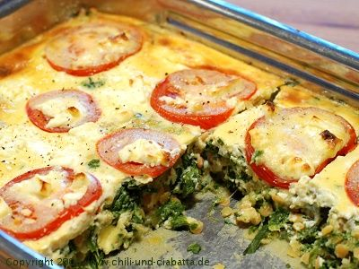 Spinach, lentils and feta casserole