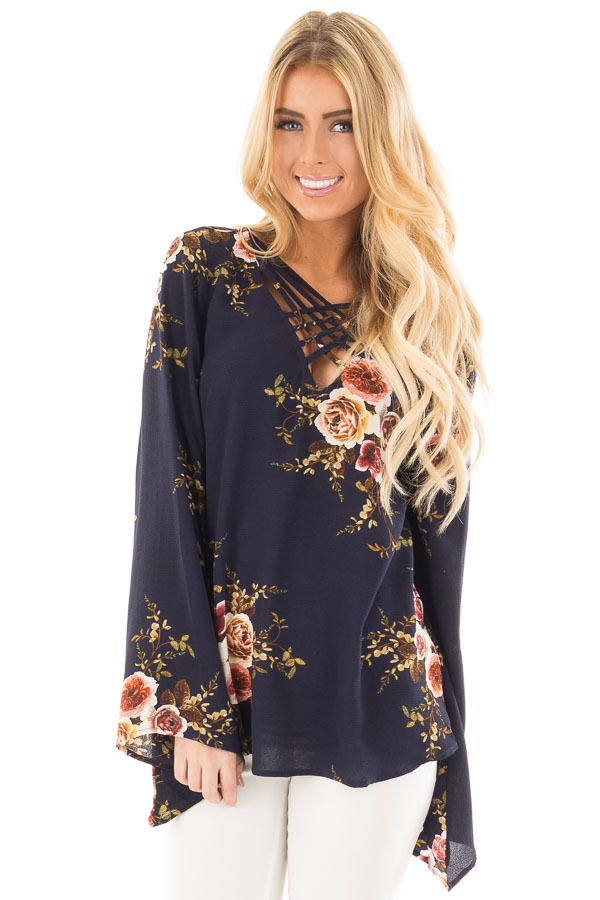 Navy Floral Print Crepe Blouse with Criss Cross Neckline front close up