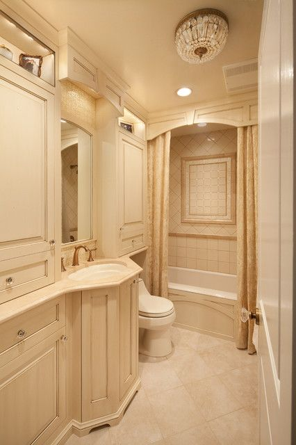 Neutral Bathroom Interior With Cool Shower Curtains And Cream Vanity Design  Applied Travertine Tile Flooring