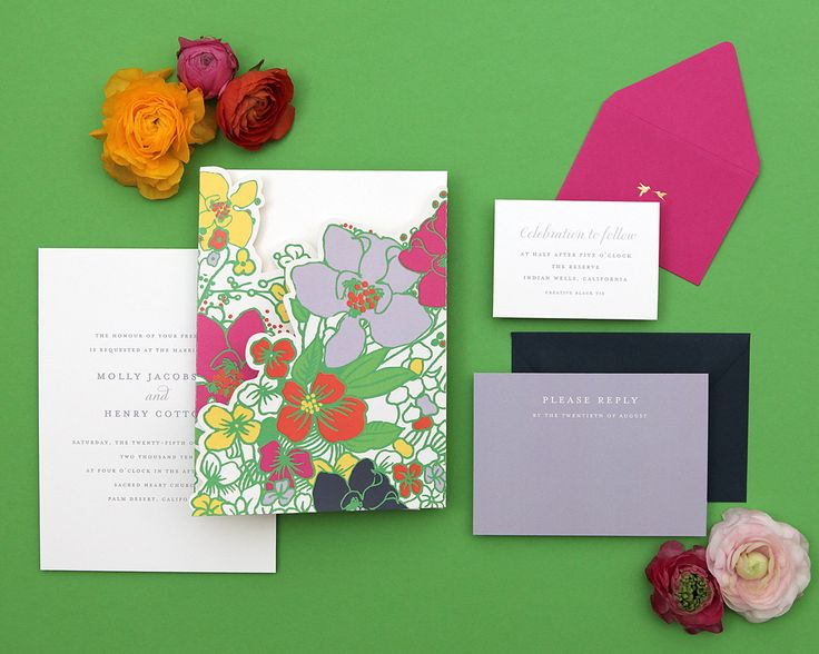 Cheree Berry Kağıt tarafından Özel Çiçek Düğün Davetiyeleri