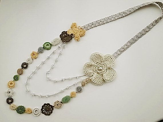 crochet necklace. love this. Etsy