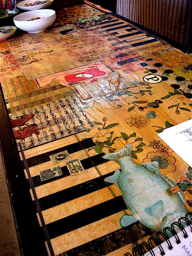 Decoupaged and collaged tabletop enhanced with paint.  Can include all my favourite things.  PJS