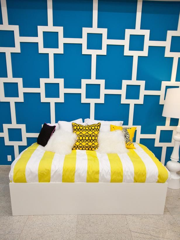 Britany's Design Star Geometric Focal Wall: Hgtv Design, Design Stars, Hgtv Stars, Geometric Wall, Bold Colors, Diy Projects, Wall Molding, Wall Ideas, Wall Design