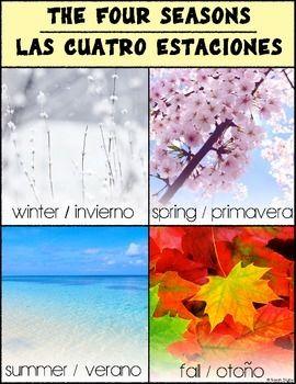 Bilingual Spanish/English four seasons poster!