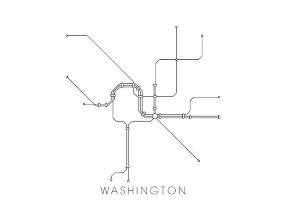 Washington Subway Map Print Washington Metro Map by MetroMaps