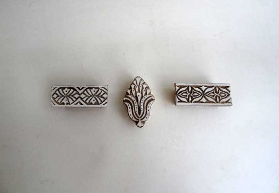 Set of 3 Indian wood stamps  traditional by IndianCraftsBazaar