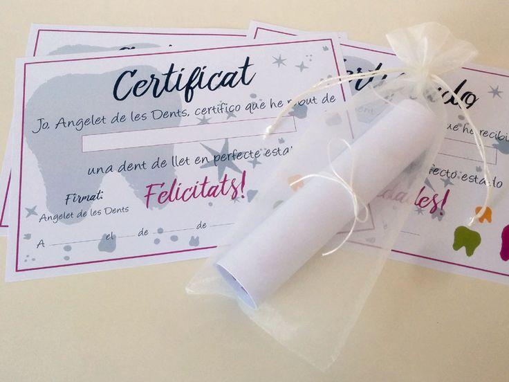 Tooth Fairy Certificate. Hada de los Dientes, Certificado. Ratoncito Pérez