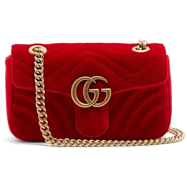 d6ca08cef2601a Gucci GG Marmont small quilted-velvet cross-body bag ($1,490) ❤ liked on  Polyvore featuring bags, handbags, shoulder bags, red, quilted crossbody,  gucci ...