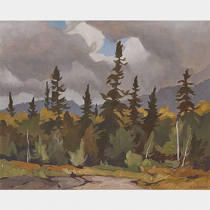 A.J. Casson - Woodland Oxtongue Lake 12 x 15 Oil on board (1971)