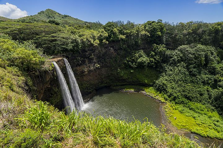 Wailua Falls is as picturesque as Hawaiian waterfalls get. It's one of the few waterfalls you don't have to hike to in order to get up close and personal.