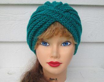 Artículos similares a Turbante de moda turbante turquesa turbante punto tejer sombrero mujer invierno sombreros torcidos turbante grueso sombreros sombreros del ganchillo turbante turbantes sombreros del knit en Etsy