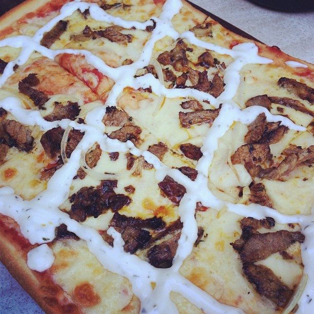 Moroccan lamb pizza - delicious! At The Village, Potts Point, Sydney